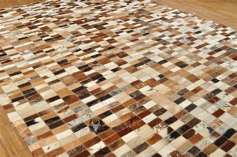 kuhfell teppich rund kuhfell teppich patchwork braun 203 x 149 cm