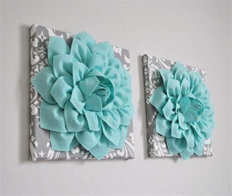 gray wall decor home decor wall art aqua and gray flower damask wall