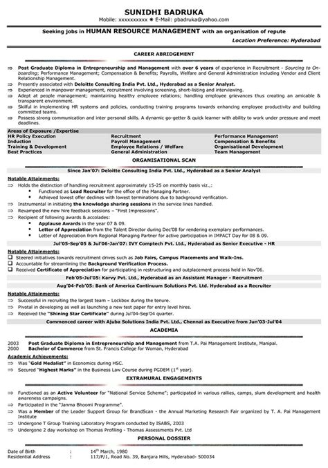 hr resume templates sle human resources manager resume