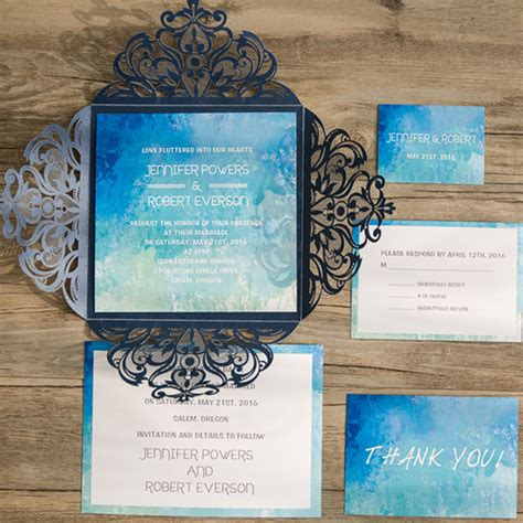 Summer Theme Wedding Invitations by Shades Of Blue Summer Watercolor Laser Cut Wedding