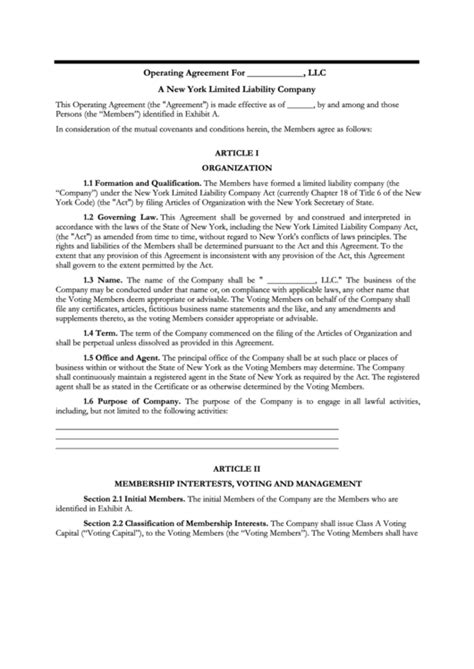 38 Llc Operating Agreement Templates Free To Download In Pdf Partnership Agreement Template New York