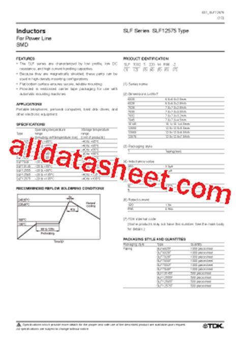 tdk capacitors datasheet slf12575 datasheet pdf tdk electronics