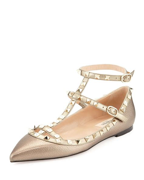 valentino shoes flats valentino rockstud caged leather ballet flats in gold