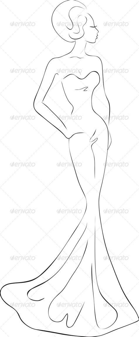 fashion design silhouette templates fashion sketch of in evening maxi dress graphicriver