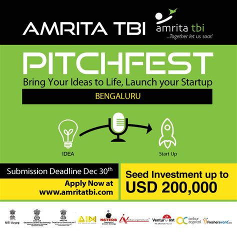 Usd Mba Application Deadline by Student Competitions Amrita Tbi Pitchfest 2018