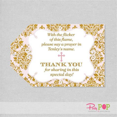 printable thank you tags for baptism baptism favor tag pink and gold thank you tag 1st communion