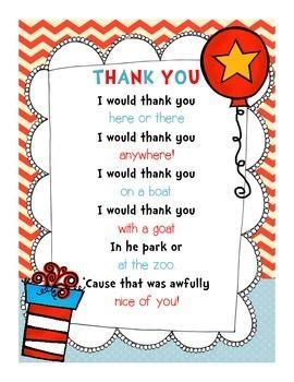 Thank You Note To Reading Use This Adorable Dr Seuss Themed Thank You Note For Your Volunteers And Guest Readers For Read