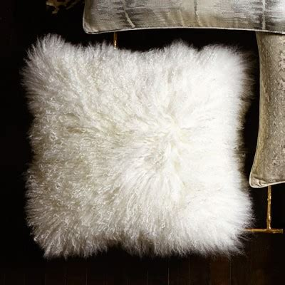 mongolian lambswool pillow cover ivory williams sonoma