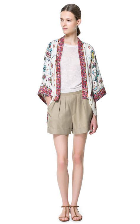 New Zara Kimono Stripe Atasan Wanita zara flowing printed kimono in lyst