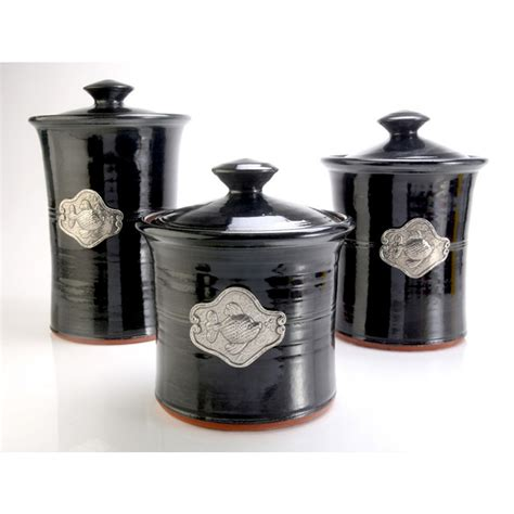 Black Kitchen Canisters by Fish 3 Piece Stoneware Canister Set In 4 Colors Beach