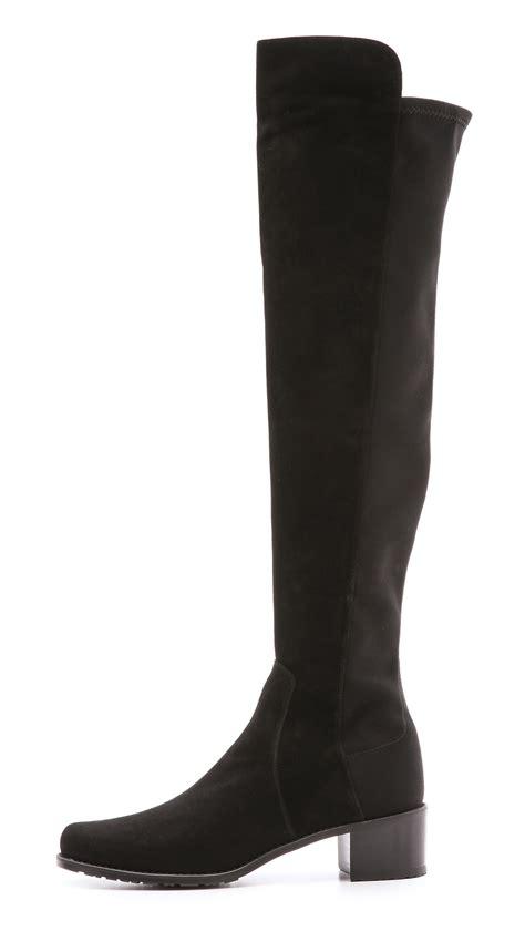 stuart weitzman shoes stuart weitzman reserve stretch suede boots in black lyst