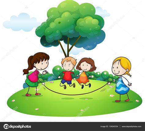 imagenes de niños jugando ala cuerda ni 241 os jugando saltan la cuerda en el parque archivo