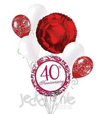 Happy 40th anniversary ruby red balloon bouquet balloon decorations party 40th anniversary