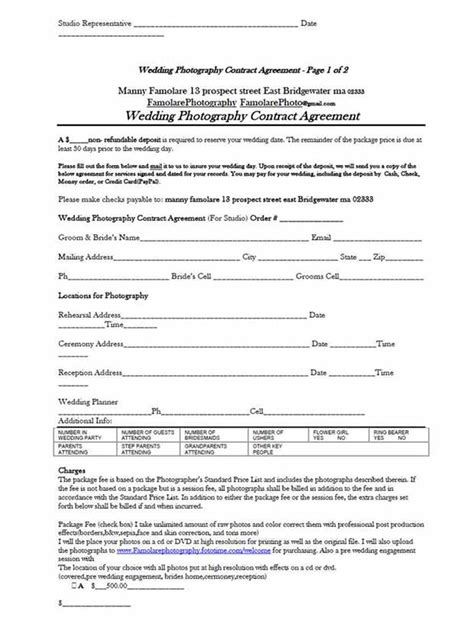 sample wedding contract 21 documents in pdf word