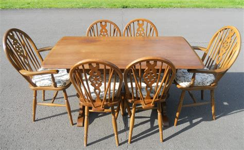 six chair dining table set set six wheelback chairs refectory dining table