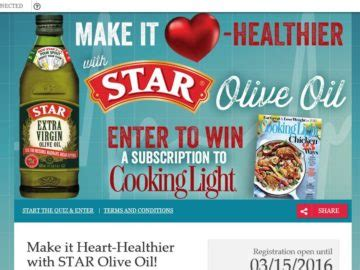 Sweepstakes Magazine Subscriptions - cooking light magazine 6 month subscription sweepstakes