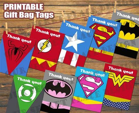 printable tags for gift bags printable superhero party gift bag tags batman superman