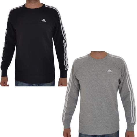 Sweater Adidas 3 Colors adidas performance essentials mens 3 stripe sweatshirt jumper sweater top ebay
