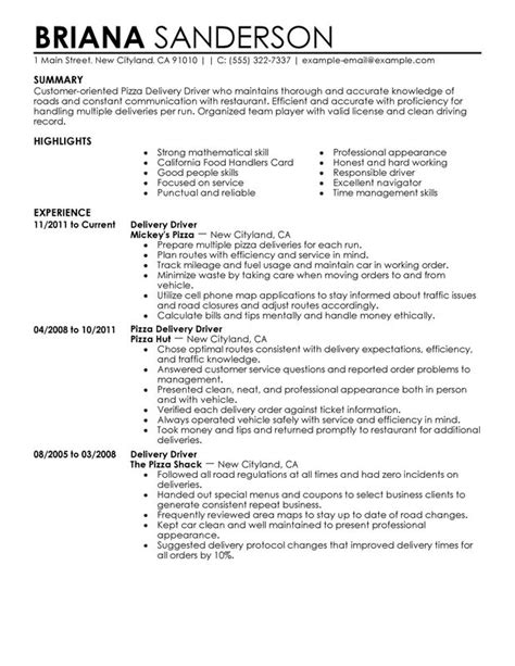 delivery driver resume sle driver resume sle truck drivers looking for resume sales www