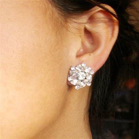 Rhinestone Flower Stud Earrings rhinestone bridal stud earrings vintage inspired wedding