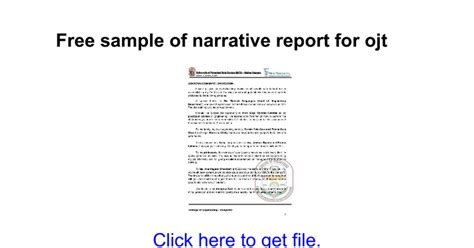 sle narrative report in science free sle of narrative report for ojt docs