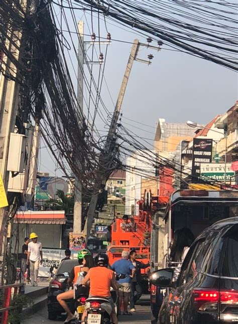 Danger In Pattaya pattaya city repairs dangerous leaning electrical pole on
