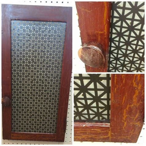 Perforated Cabinet Doors Vintage Cabinet Door With Perforated Metal Screen For Jewlry Rack New Paint On The New Metal