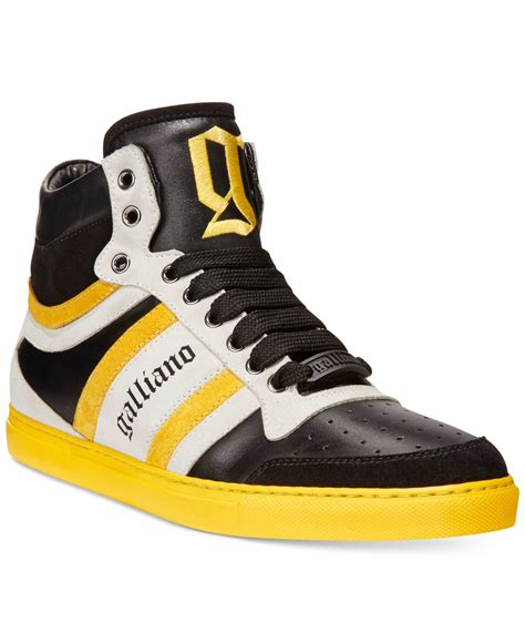 galliano sneakers galliano vernic high top sneakers in yellow for