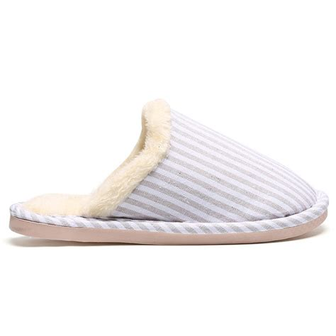 furry bedroom slippers slippers off white size 40 41 furry padded stripe