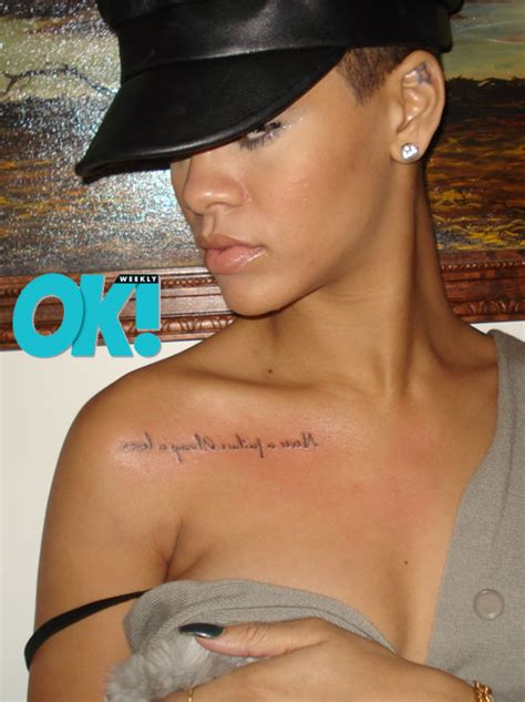 rihanna tattoo on right shoulder rihanna tattoos pictures images pics photos of her tattoos