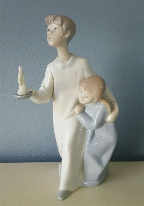 lladro boy  girl  candle matte porcelain figurine