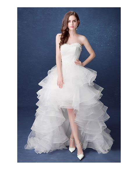 country high  wedding dresses  train ruffles