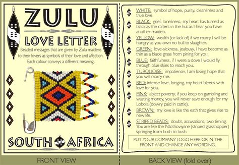 Zulu Business Letter Zulu Letter Card Only African0535 Corporate Gifts Clothing Promotional Gifts
