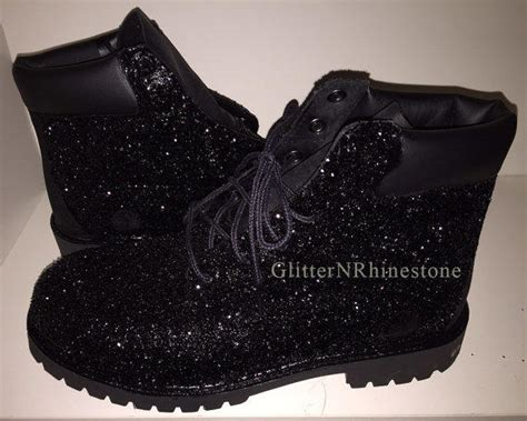 Boots E Glitter Putih New black glitter timberland boots from glitternrhinestone on etsy