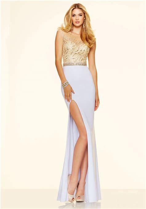 gold white fitted plunging neckline high slit prom dress illusion neckline high slit backless white jersey gold beaded prom dress