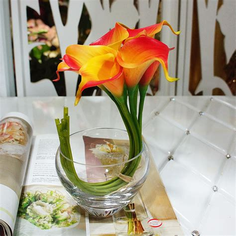 9pcs Orange Real Touch Calla Lilies Bouquet Fake Latex Calla Lilies Centerpieces For Weddings