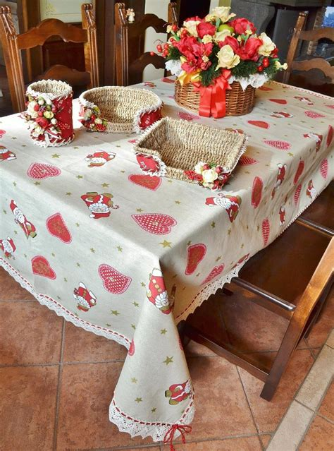 handmade christmas tablecloth with hearts stars and santa