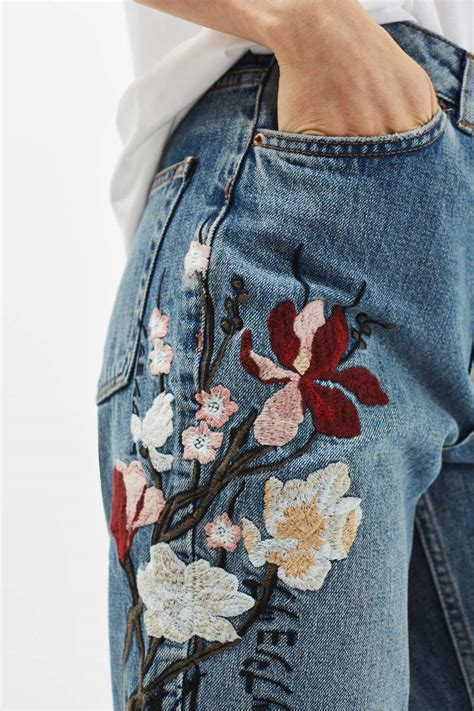 embroidery design jeans moto floral embroidered mom jeans topshop