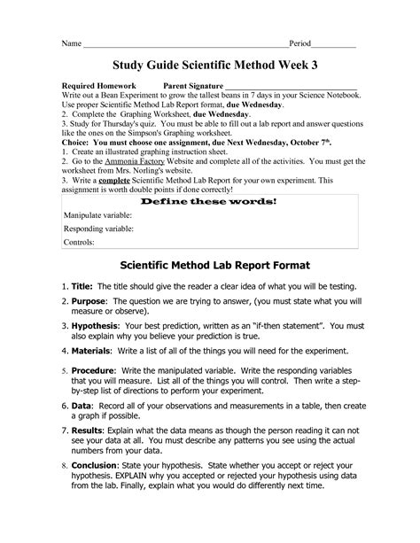 Scientific Method Study Guide Worksheet by Scientific Method Review Worksheet Photos Getadating