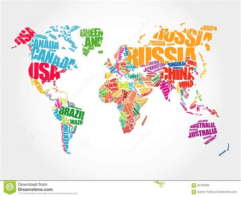 illustration of world map with country name world map in typography word cloud stock illustration