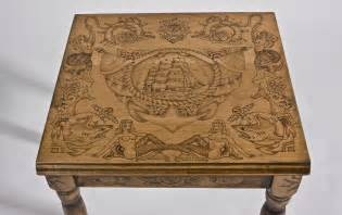Desk Coffee Maker Hand Made Wood Burned End Table With Old Tattoo Flash By