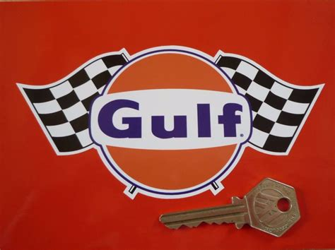 gulf logo gulf logo chequered flags sticker 6 quot 8 quot or 10 quot