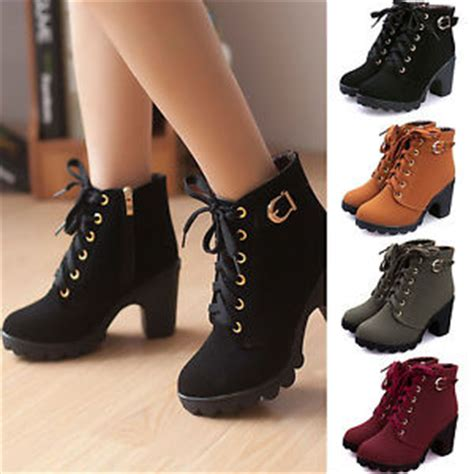 womens fashion high heel lace up ankle boots zipper