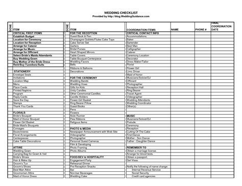 wedding ceremony checklist   Wedding Checklist   Excel