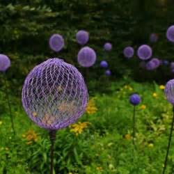 chicken wire garden ornament purple balls or orbs made