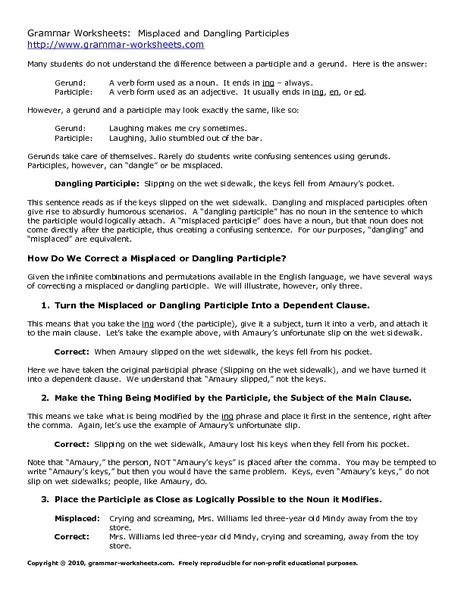 Dangling And Misplaced Modifiers Worksheet by Misplaced And Dangling Modifiers Worksheet Free Worksheets Library And Print