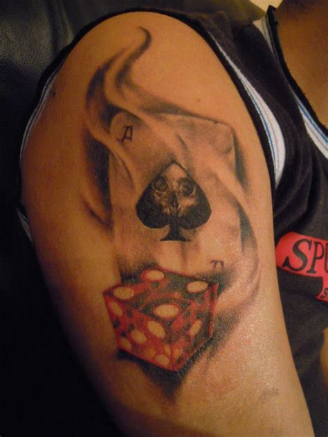 card sleeve tattoo designs flaming ace cards and dice tattoos on half sleeve rj