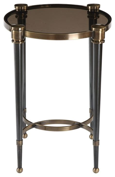 elegant accent tables elegant black gray glass round accent table brass gold