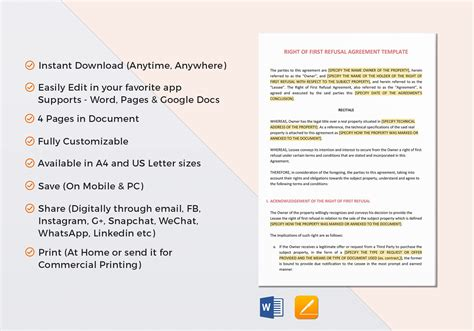 Right Of First Refusal Agreement Template In Word Google Docs Apple Pages Right Of Refusal Contract Template