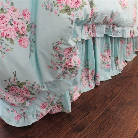 Shabby Blue Pink Rose Ruffle Bedding Clearance Items Shabby Chic Clearance